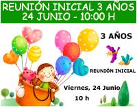 Reunión inicial 3 años - 24 junio a las 10:00 h